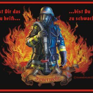 """geprägtes Feuerwehr-Blechschild im Retrodesign """" zu Heiss"""""""