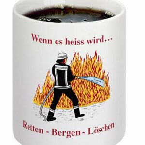 """Feuerwehr Zaubertasse """"Retten-Bergen-Löschen"""" im Heisszustand"""