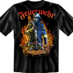Feuerwehr T-Shirt schwarz Real Heroes