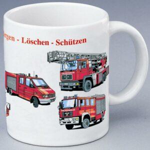 """Feuerwehr-Tasse """"Retten-Bergen-Löschen-Schützen"""""""