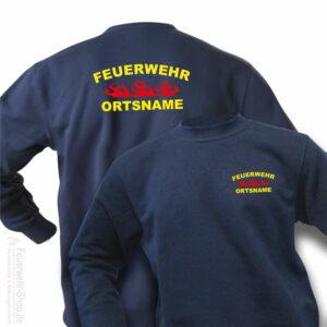 Feuerwehr Premium Pullover Rundlogo Flamme mit Ortsnamen
