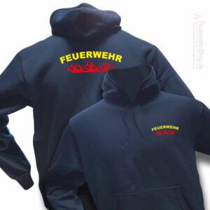 Feuerwehr Premium Kapuzen-Sweatshirt Rundlogo Flamme