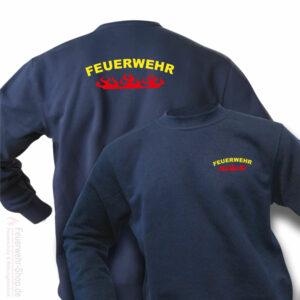 Feuerwehr Premium Pullover Rundlogo Flamme