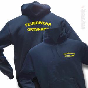 Feuerwehr Premium Kapuzen-Sweatshirt Rundlogo mit Ortsnamen