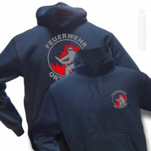 Feuerwehr Premium Kapuzen-Sweatshirt Firefighter I mit Ortsnamen