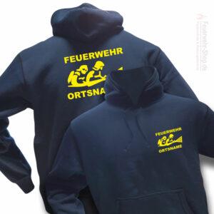 Feuerwehr Premium Kapuzen-Sweatshirt Firefighter III mit Ortsnamen