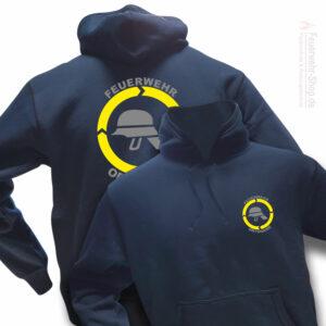 Feuerwehr Premium Kapuzen-Sweatshirt Helm mit Ortsnamen