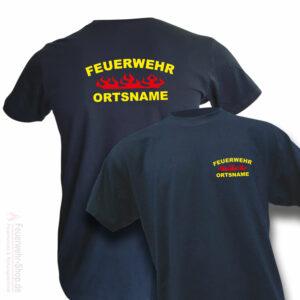 Feuerwehr Premium T-Shirt Rundlogo Flamme mit Ortsname