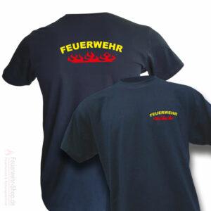Feuerwehr Premium T-Shirt Rundlogo Flamme