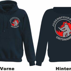 Jugendfeuerwehr Kapuzen-Sweatshirt Modell Firefighter I mit Ortsnamen