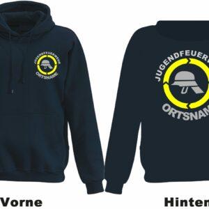 Jugendfeuerwehr Kapuzen-Sweatshirt Modell Helm mit Ortsnamen