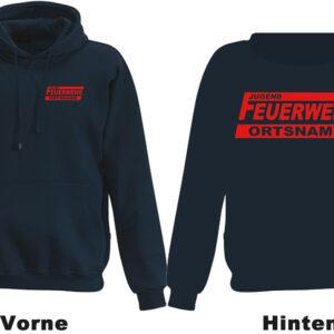 Jugendfeuerwehr Kapuzen-Sweatshirt Modell Logo mit Ortsname