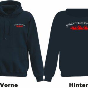 Jugendfeuerwehr Kapuzen-Sweatshirt Rundlogo mit Flamme