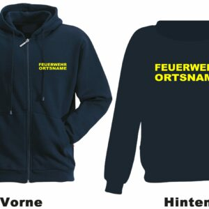 Feuerwehr Kapuzen-Sweatjacke Modell Basis mit Ortsnamen