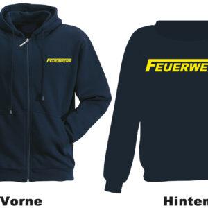 Feuerwehr Kapuzen-Sweatjacke Freiwillige Feuerwehr Modell Logo