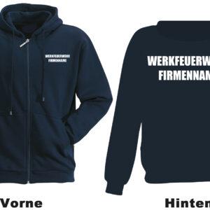 Feuerwehr Kapuzen-Sweatjacke Werkfeuerwehr I mit Firmennamen