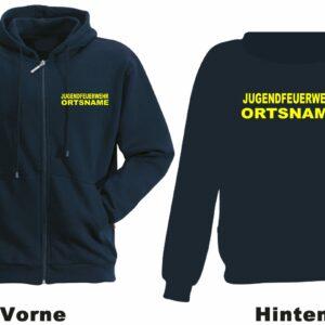 Jugendfeuerwehr Kapuzen-Sweatjacke Modell Basis mit Ortsnamen