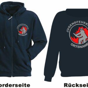 Jugendfeuerwehr Kapuzen-Sweatjacke Modell Firefighter I mit Ortsnamen