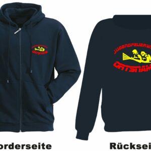 Feuerwehr Kapuzen-Sweatjacke Modell Firefighter IIII mit Ortsnamen