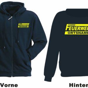 Jugendfeuerwehr Kapuzen-Sweatjacke Modell Logo mit Ortsnamen