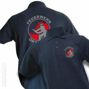 Poloshirt mit Feuerwehrmotiv und Ortsname