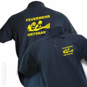 Feuerwehr Premium Poloshirt Firefighter III mit Ortsname