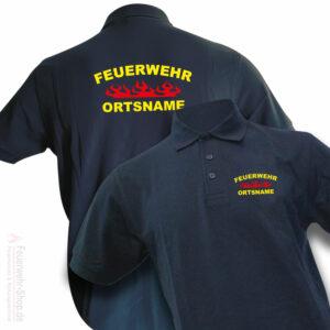Feuerwehr Premium Poloshirt Rundlogo Flamme mit Ortsname