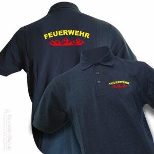 Feuerwehr Premium Poloshirt Rundlogo Flamme