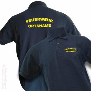 Feuerwehr Premium Poloshirt Rundlogo mit Ortsnamen