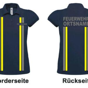 Feuerwehr Damen-Poloshirt im Einsatzlook mit Ortsname