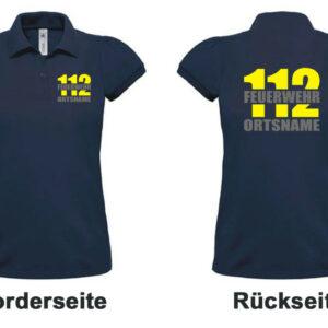 Feuerwehr Damen-Poloshirt mit Motiv Firefighter II mit Ortsname