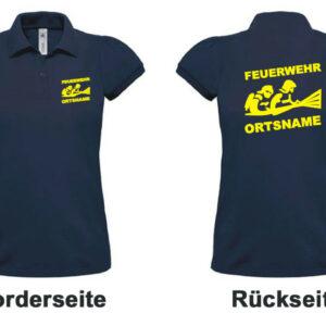 Feuerwehr Damen-Poloshirt mit Motiv Firefighter III mit Ortsname