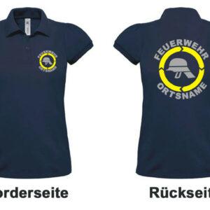 Feuerwehr Damen-Poloshirt Modell Helm mit Ortsnamen