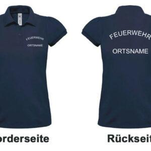 Feuerwehr Damen-Poloshirt mit Rundlogo und Ortsnamen