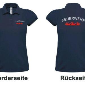 Feuerwehr Damen-Poloshirt mit Rundlogo und Flamme