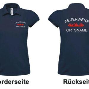 Feuerwehr Dame-Poloshirt Rundlogo Flamme und Ortsnamen