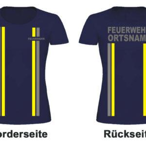 Feuerwehr Damen T-Shirt im Einsatzlook mit Ortsname