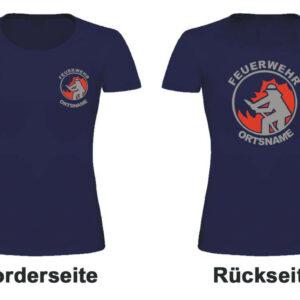 Feuerwehr Damen T-Shirt mit Motiv Firefighter I mit Ortsnamen