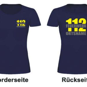 Feuerwehr Damen T-Shirt mit Motiv Firefighter II mit Ortsname