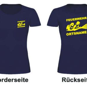 Feuerwehr Damen T-Shirt mit Motiv Firefighter III mit Ortsname