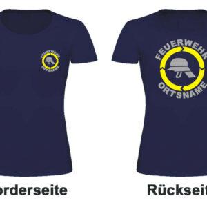 Feuerwehr Damen T-Shirt Modell Helm mit Ortsnamen
