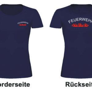 Feuerwehr Damen T-Shirt mit Rundlogo und Flamme