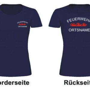 Feuerwehr Damen T-Shirt Rundlogo Flamme und Ortsnamen