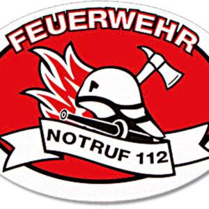 Aufkleber Feuerwehr Helm+Axt Notruf 112