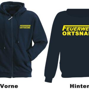 Feuerwehr Kapuzen-Sweatjacke Modell Logo mit Ortsname