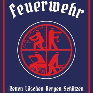 """geprägtes Feuerwehr-Blechschild im Retrodesign """"Retten-Löschen-Bergen-Schützen"""""""