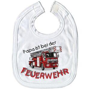 Baby-Lätzchen mit Druckmotiv - Papa ist bei der Feuerwehr - weiß