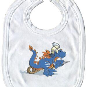 Baby-Lätzchen fliegender Feuerwehrdrache (weiß)