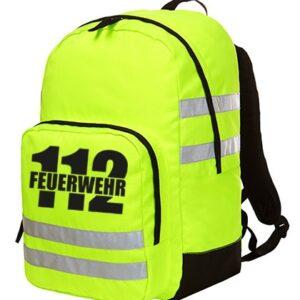 Rucksack Neongelb mit Reflexstreifen & Aufdruck Feuerwehr 112-0