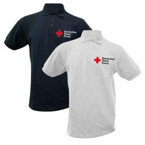 Poloshirt weiß oder blau mit DRK Kompaktlogo gestickt